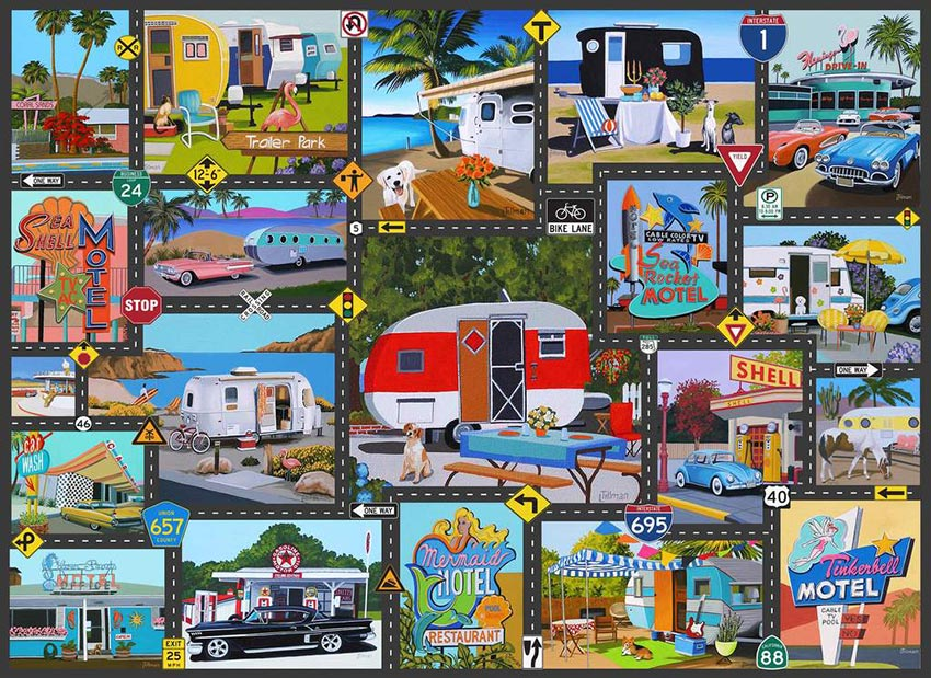 mid century style puzzles and activities: retro road trip puzzle