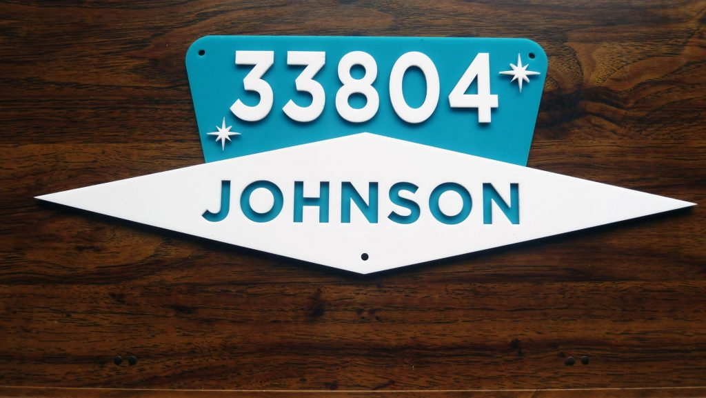 Mid Century Modern House Number Sign w/name