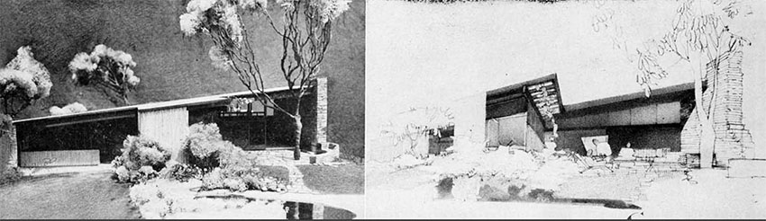 a black and white scale model side by side comparison with draft renderings showing the social court area of Case Study House #6