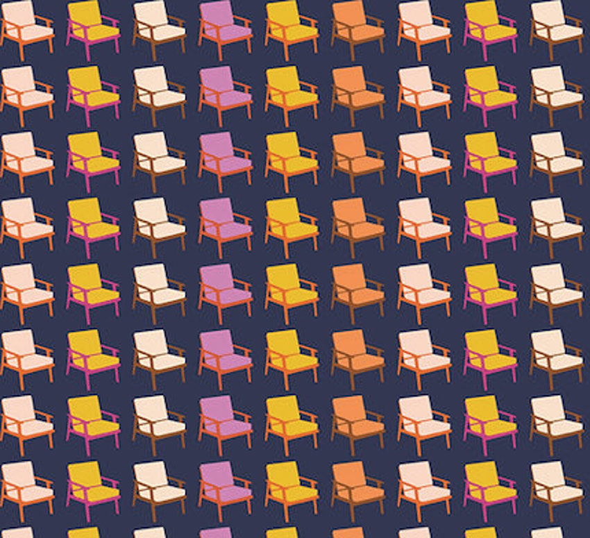 fabric with a repeating mid century arm chair pattern with a navy background