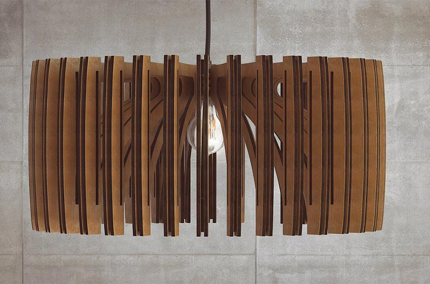 wooden mid century modern light pendant