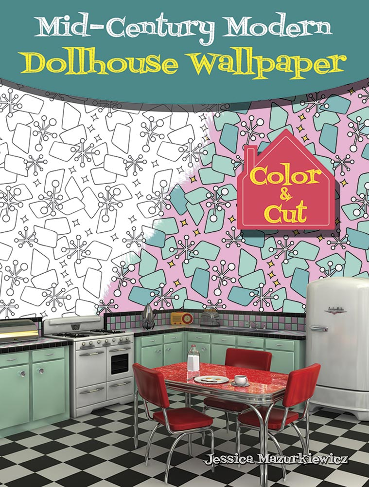 mid century modern dollhouse wallpaper