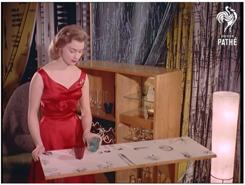 a color still from a historical mid century video on ingenius furniture designs from the 1950s