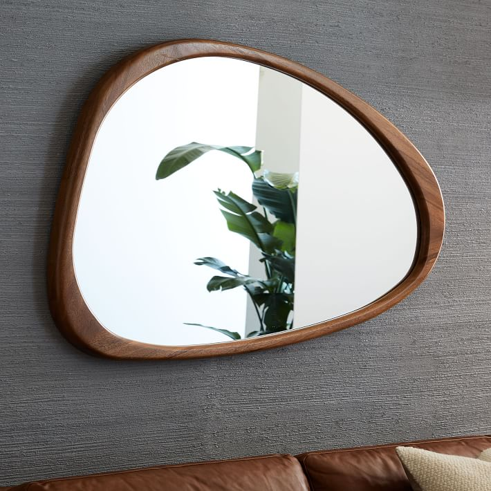 googie mid century modern walnut asymmetrical wall mirror