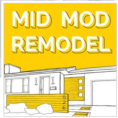 bright yellow MId Mod Remodel podcast logoo