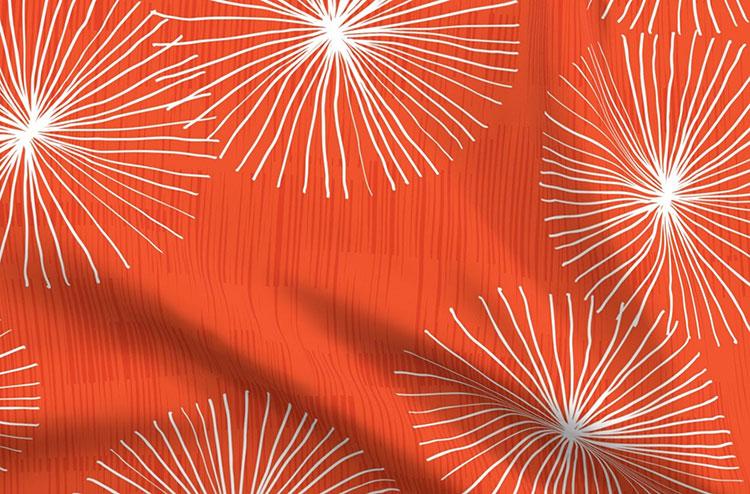 red mod dandelion fabric