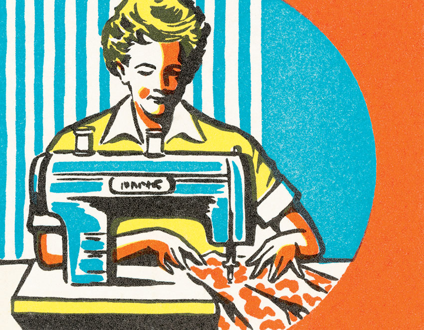 a colorful retro style illustration of a woman at a sewing machine