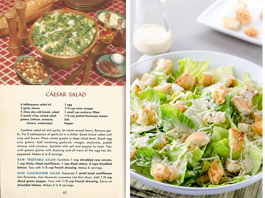 vintage recipe for a ceasar salad alongside a prepared ceasar salad with croutons