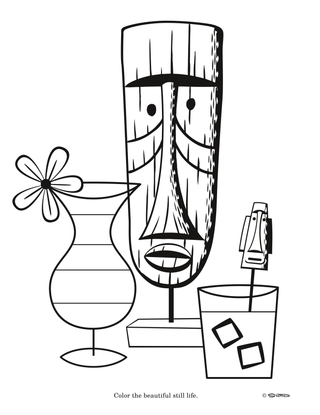 Tiki coloring page by artist Shag