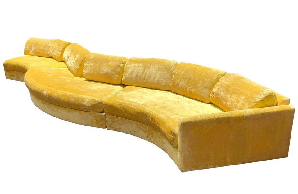 a rare, monumental sized 16'-foot vintage mid century modern Adrian Pearsall serpentine sofa in bright yellow