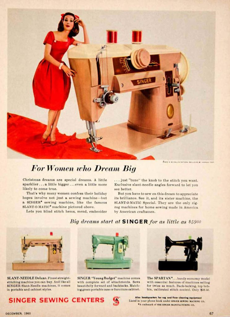 vintage sewing machine ad with a woman in a red dress leaning on a Slant-o-matic sewing machine