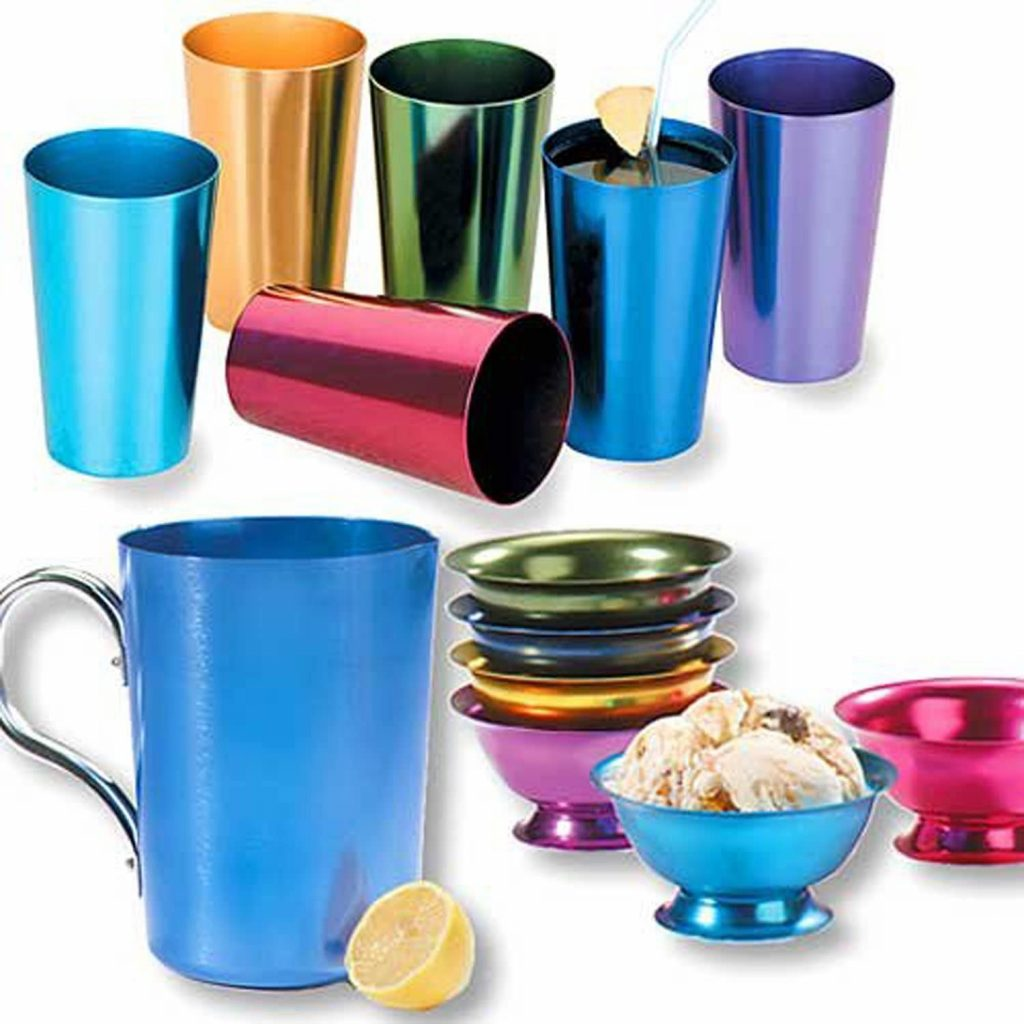 multicolored retro style aluminum tumblers perfect for a mid century modern patio