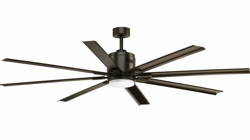 modern ceiling fan in black with 8 blades and squared edges