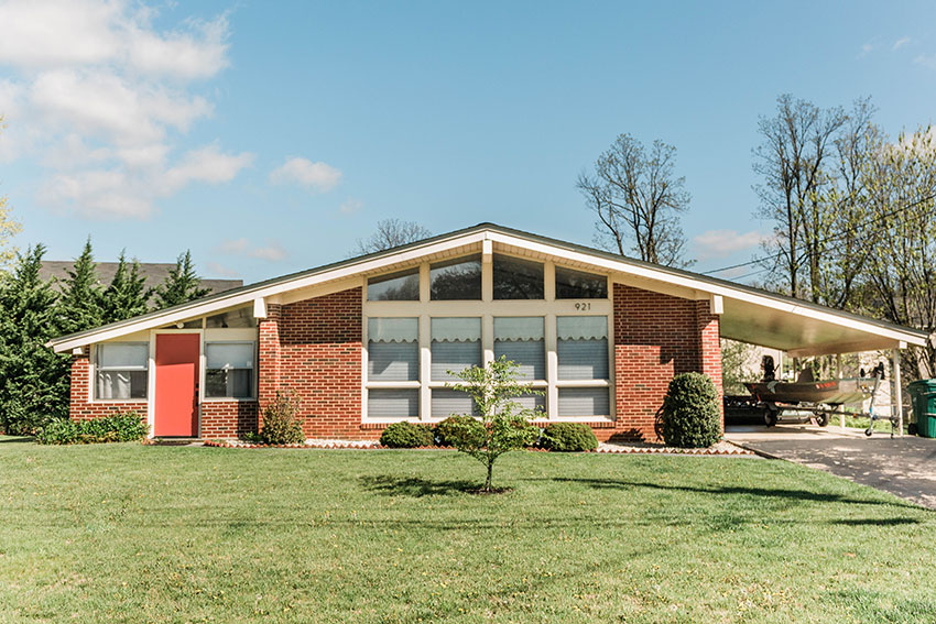 the exterior or a brick slope roof 1962 mid century modern home