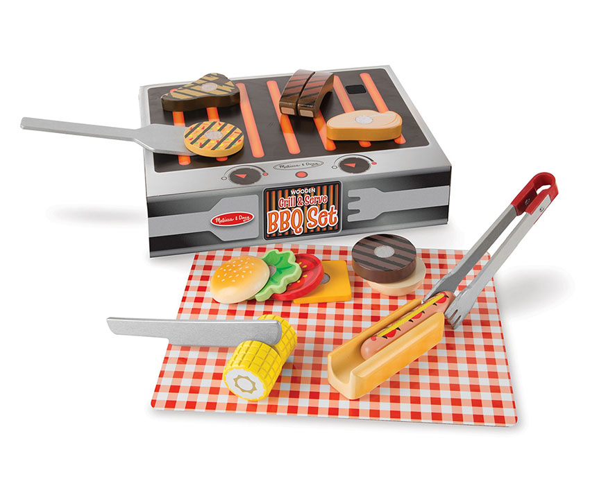 A playset of barbeque items including food items, utensils and a play grill.>
