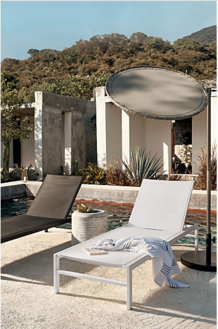 mid century modern patio lounger from CB-- modern angular lines in white and black