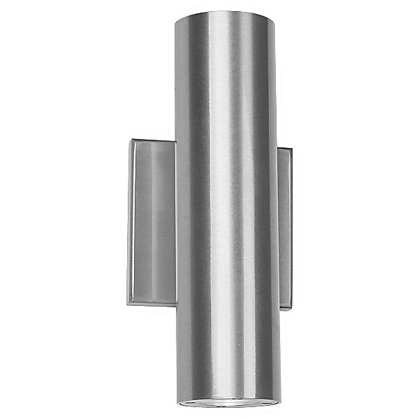 simple cylindrical chrome outdoor sconce for a mid century modern patio