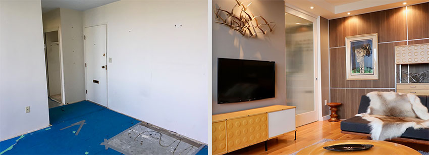 a before and after comparison of a modern condo in vancouver that shows blue carpet replaced with wood flooring