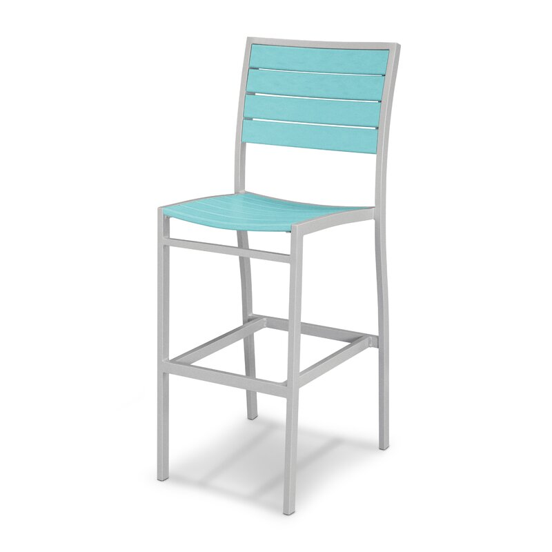 silver and turquoise bar stool perfect for a mid century modern patio
