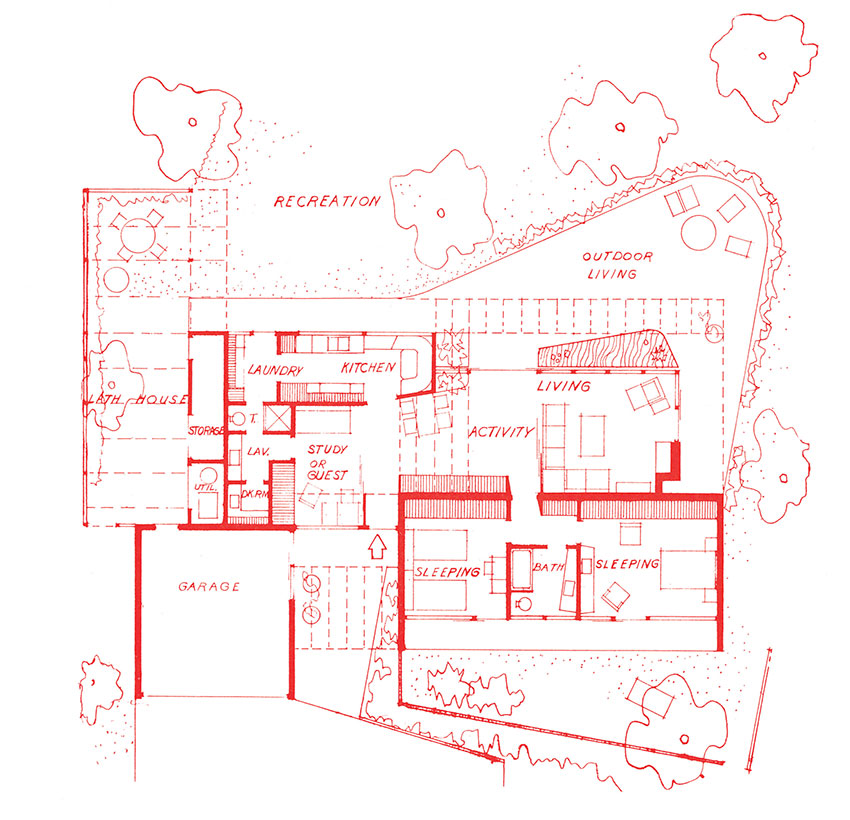 A drawn floor plan of Case Study House #7 illustrating the different areas and connections in Case Study House #7. Rough landscape plans are included as well