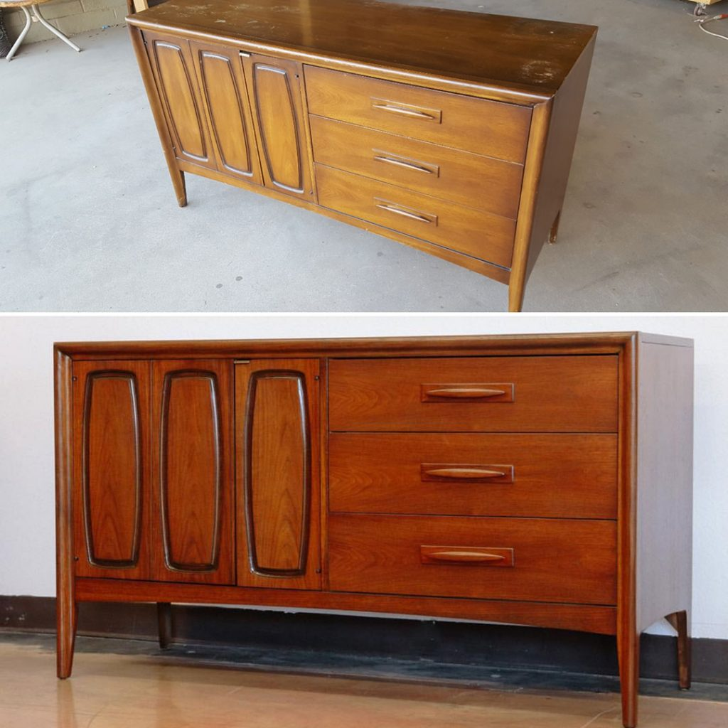 Broyhill Emphasis Mid Century Modern furniture restoration before and after comparison