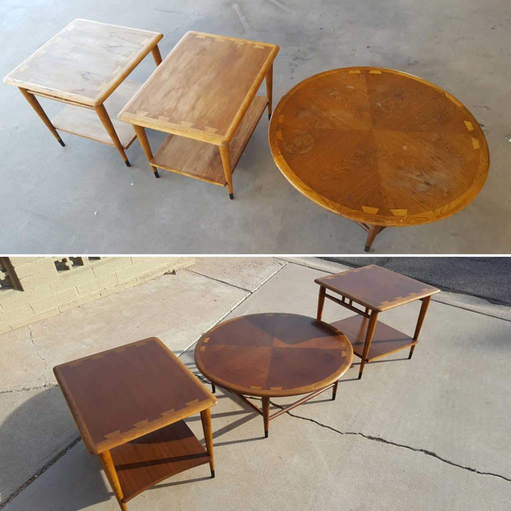 three tables from the Lane Acclaim series in before and after furniture restoration comparisons