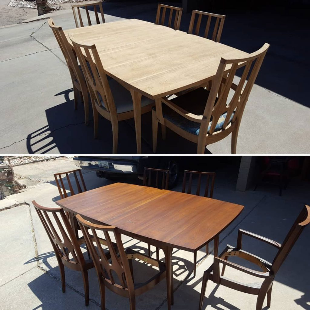 Before and after Broyhill Brazilia dining set restoration