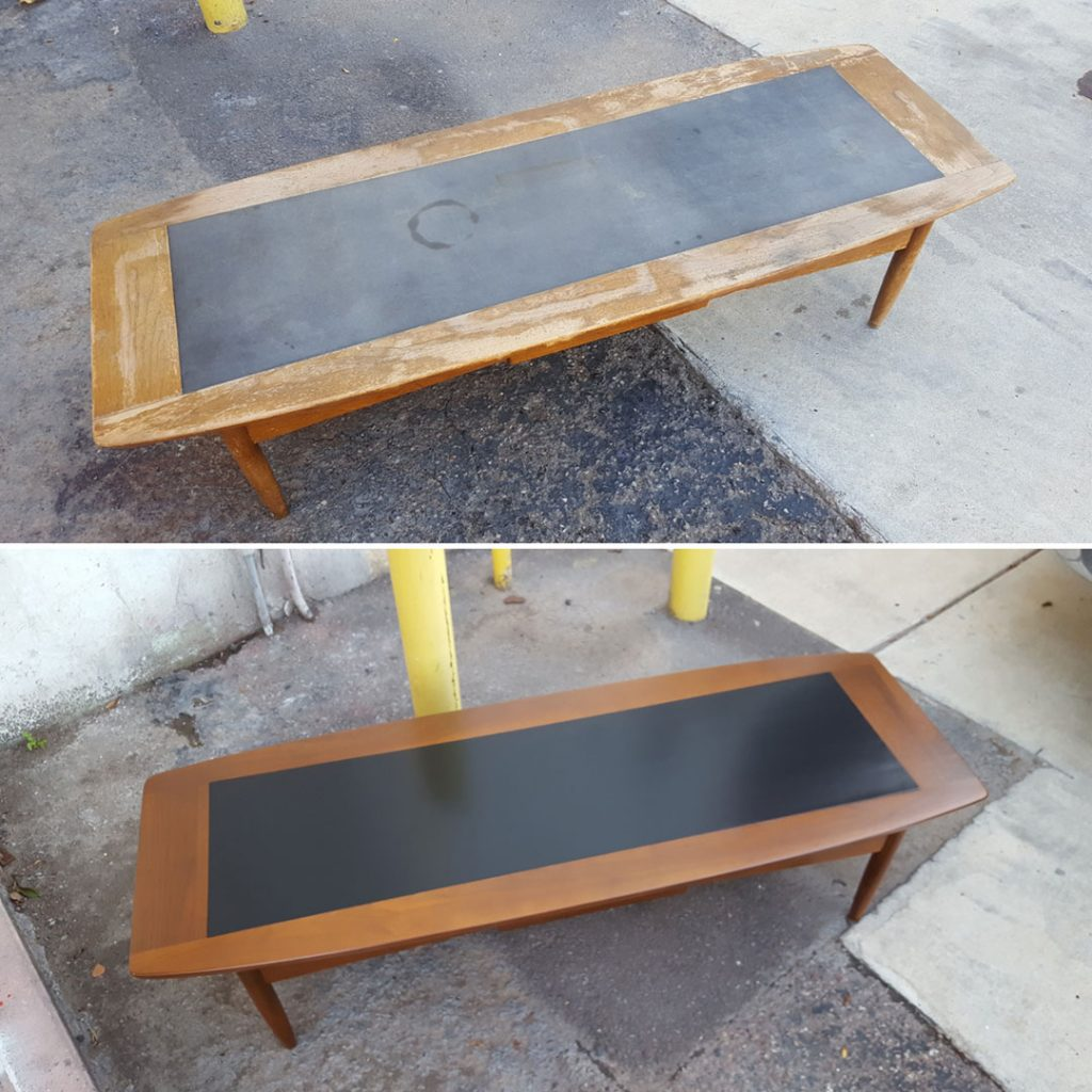 American of Martinsville coffee table furniture restoration before and after comparison