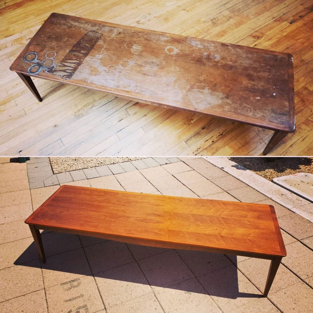 Before and after restoration on a mid century modern coffee table
