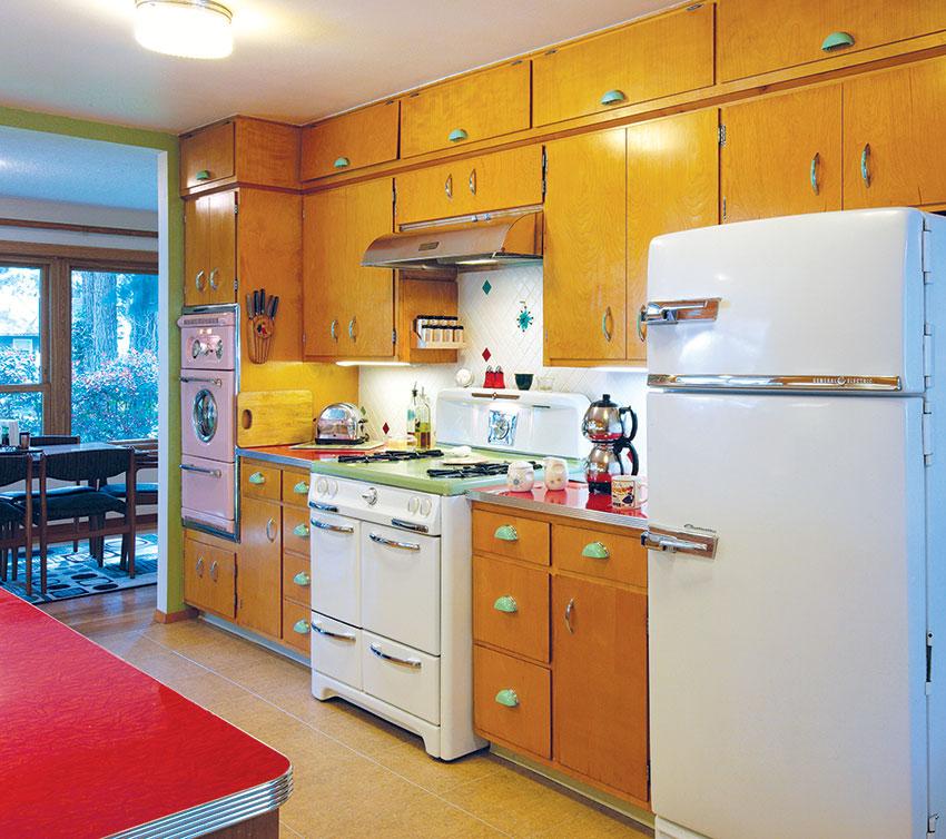 retro style mid century modern kitchen with retro appliances