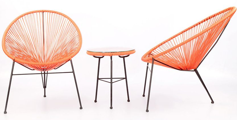 round rope style chairs in orange perfect for a mid century patio