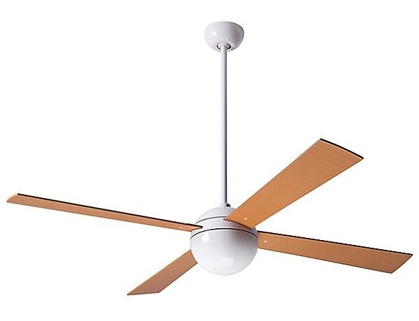 modern ceiling fan in white with light birch wood blades
