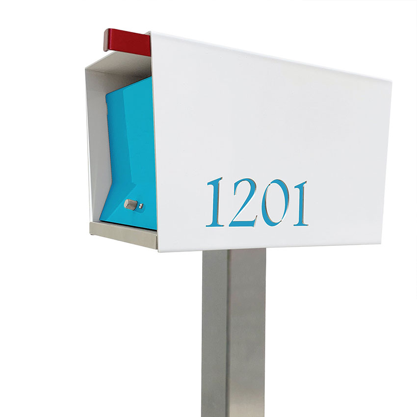 Mid Century Modern Patio pick: the Tedstuff retro mailbox in white and aqua.
