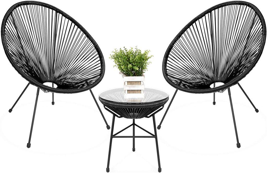 black round acapulco chair set