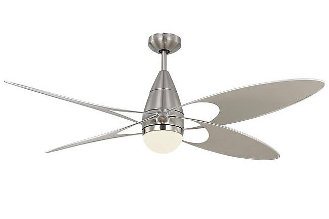 modern ceiling fan in chrome with butterfly style blades