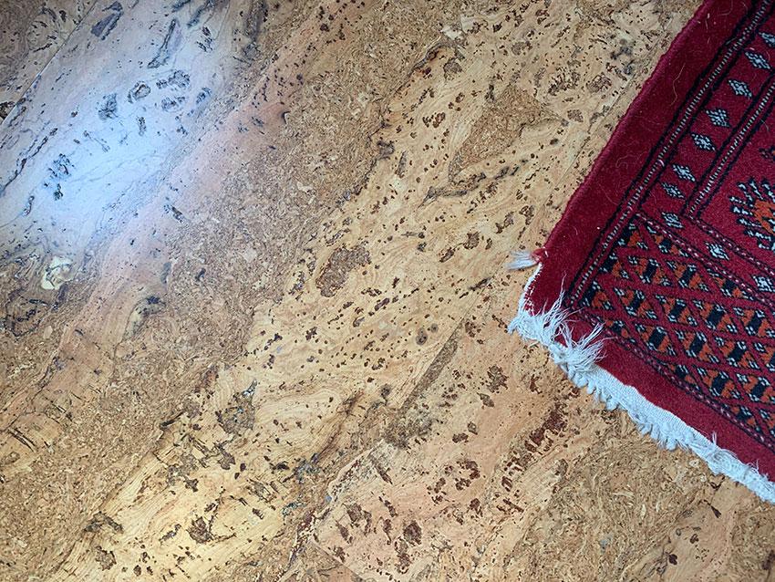 closeup of the texture of cork flooring