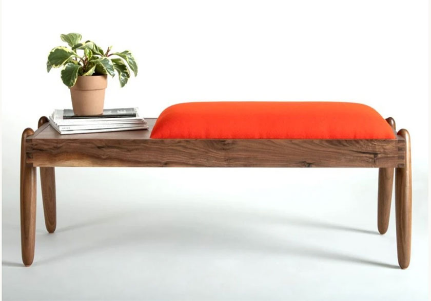 mid century accents: walnut mid century bench with orange upholstery