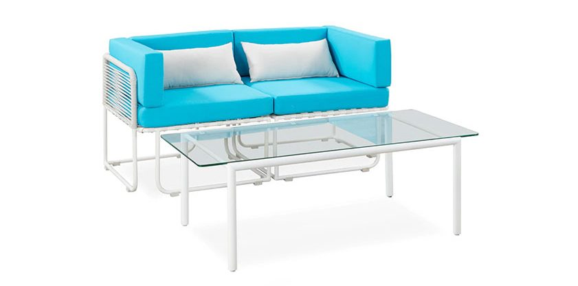 blue and white patio furniture set with glass table