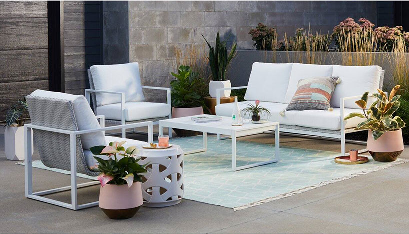 mid century modern patio set in all white aluminum and woven chair backs