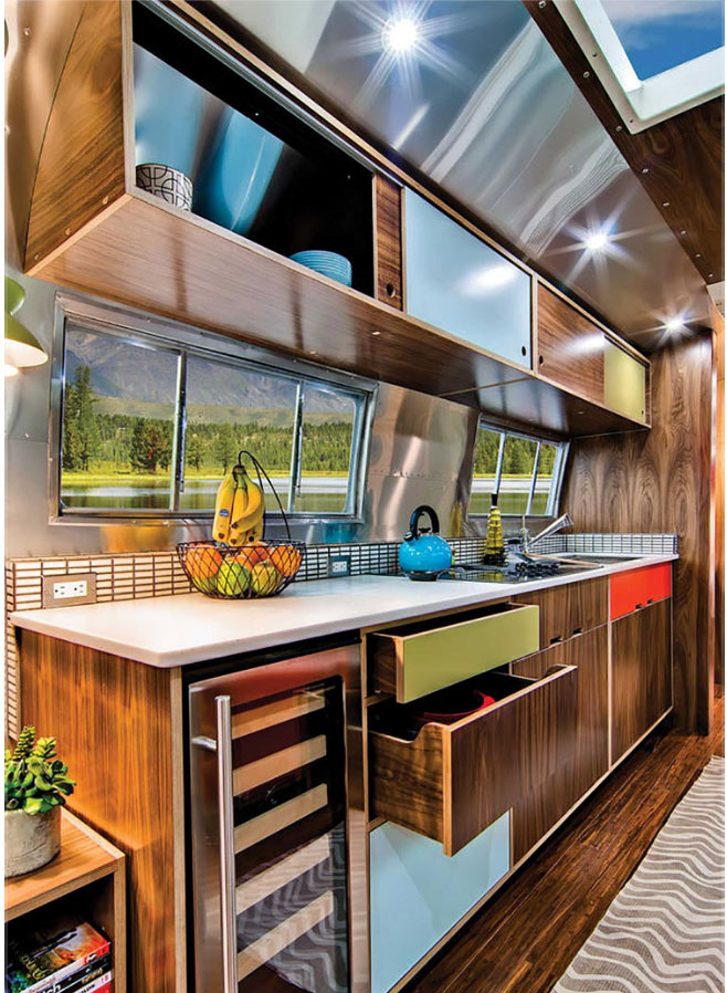 Vintage trailer with a kerf style mid century kitchen cabinet suite