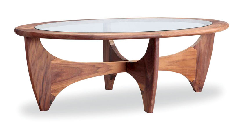 mid century accents: oval shaped walnut and glass coffee table