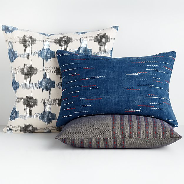 mid century accents: yuki embroidered pillows in cream, navy and gray