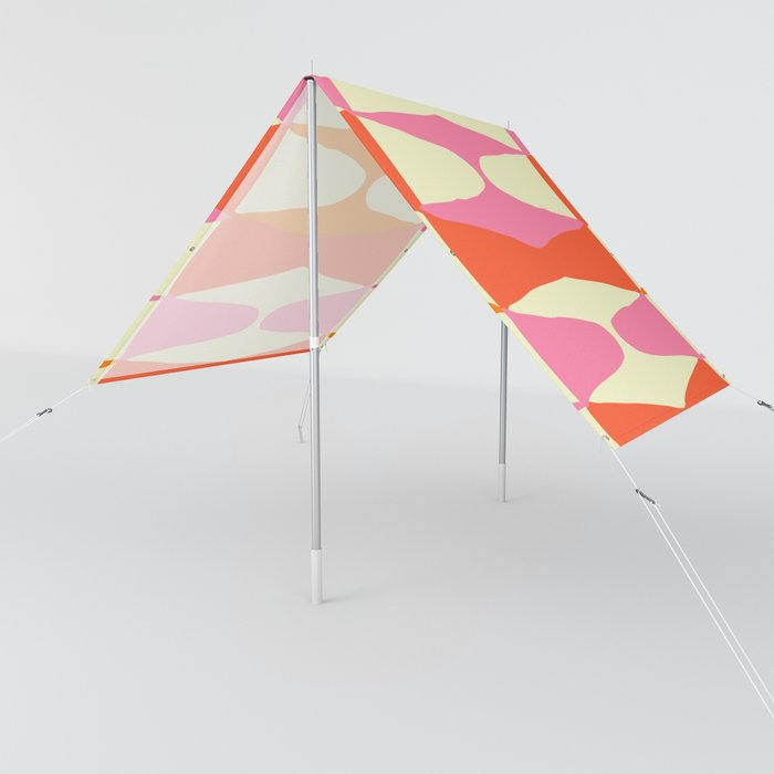 Zahara sixties sunshade tent with a cream, pink and orange groovy patterning