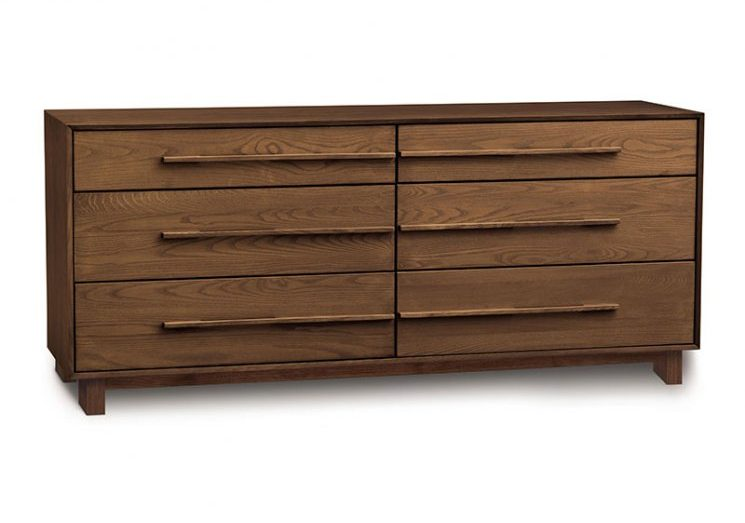 dark walnut mid century dresser with bar pulls