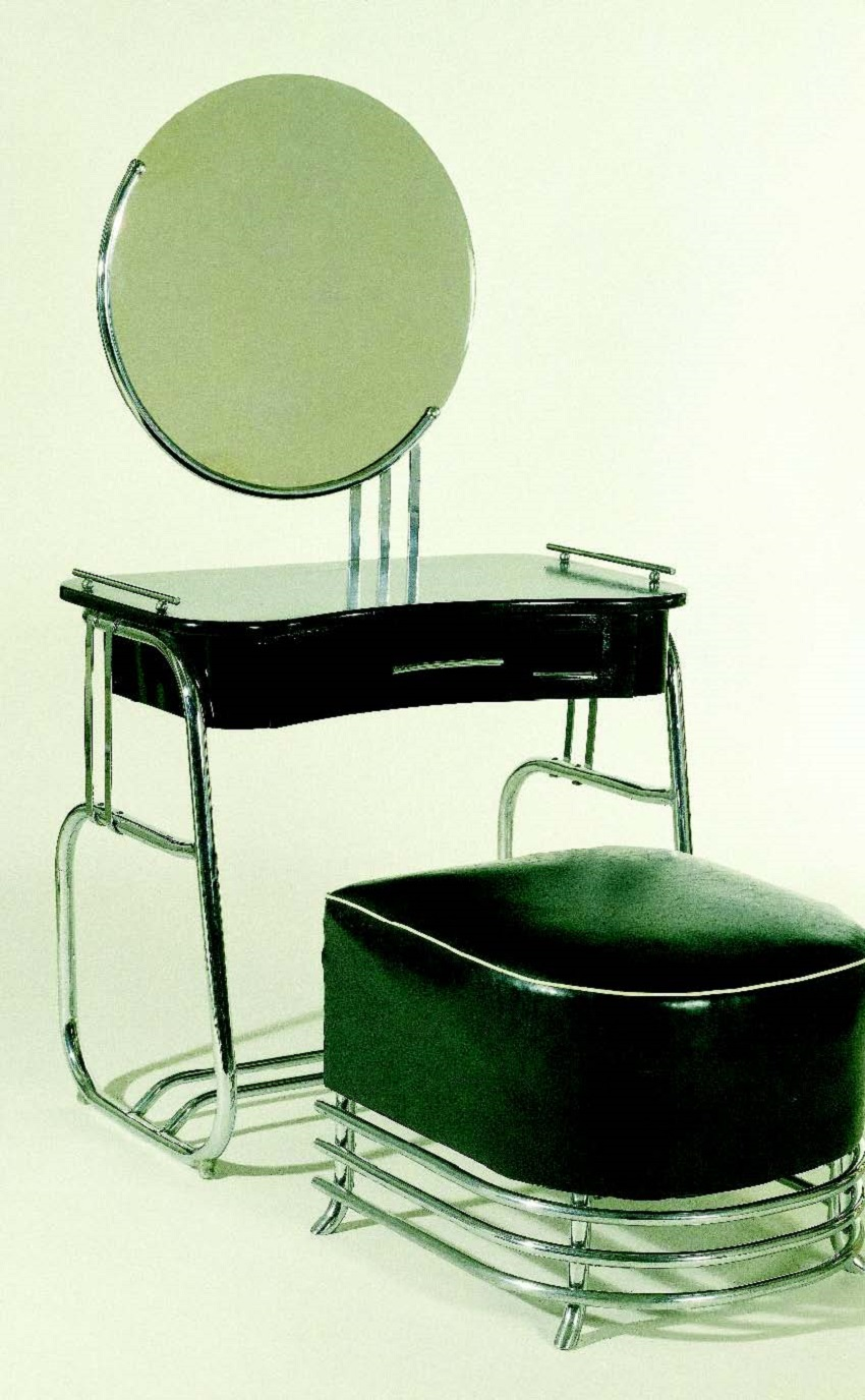 Kem Weber's industrial modern vanity with chrome and black leather