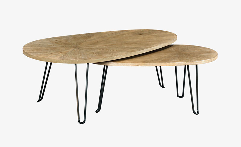 pair of light wood kidney shaped coffee tables on hairpin legs