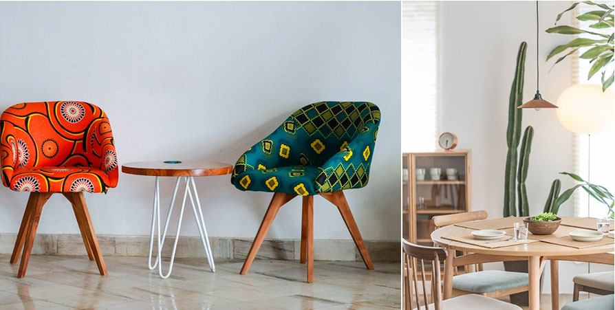 Black-Owned Vintage Mid Century Modern shop: mid century modern chairs covered in african fabric, a danish modern dining table and chairs with a tall cactus in the background