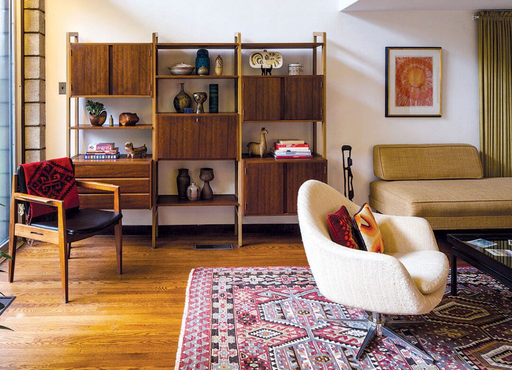 Mid Century Modern living room with storage shelving and seating