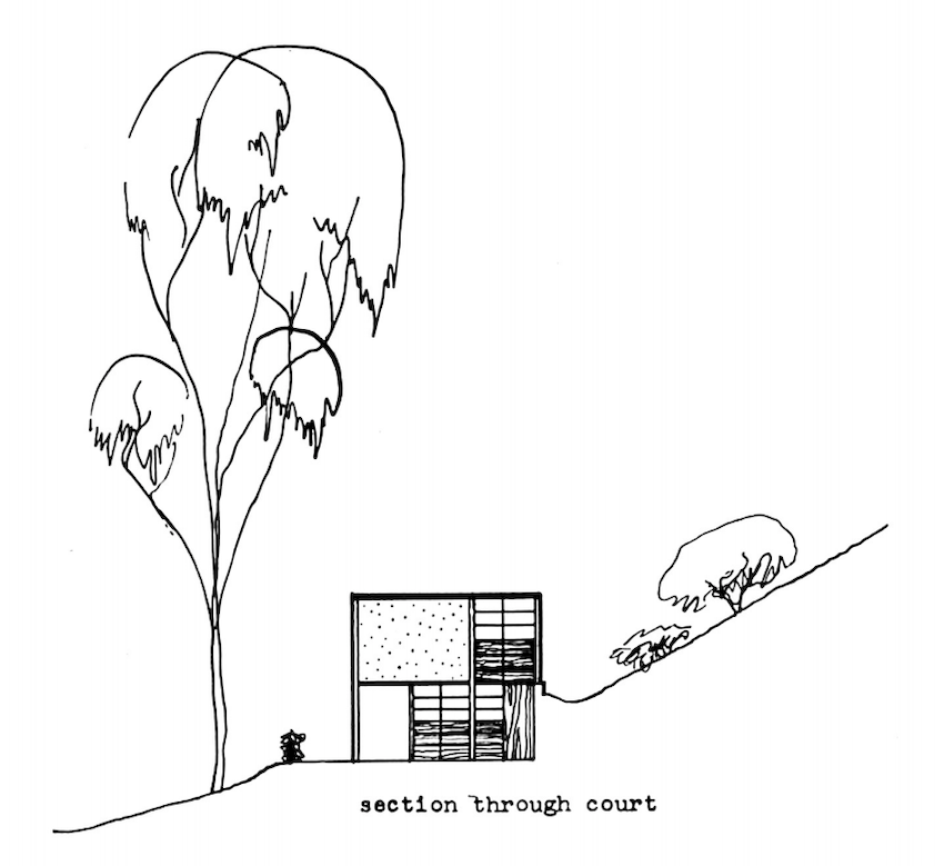 A black and white rendering of a cross-section of a home, showing how the square structure is nestled against the hillside
