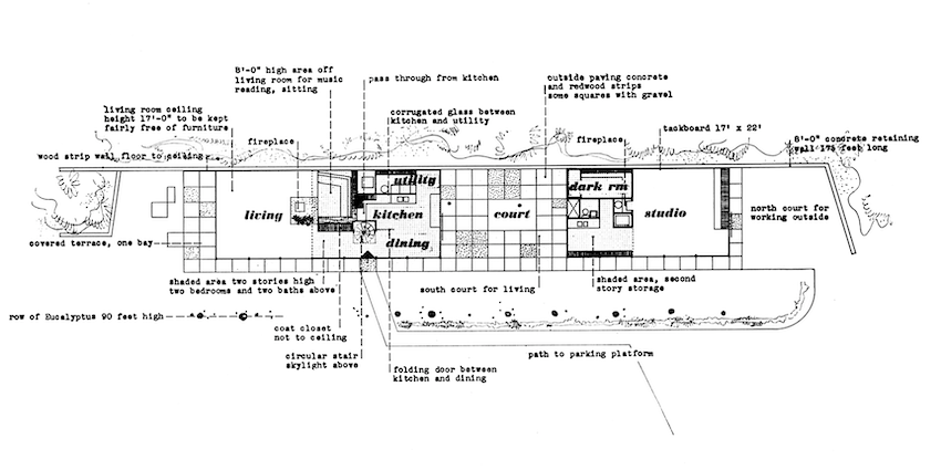 A rendering of the floor plan, showing a living room structure on the left and a studio on the right, separated by a court.>